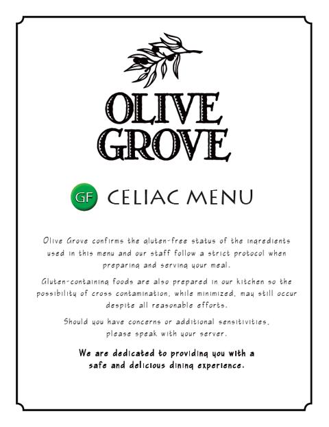 Olive Grove Special celiac menu
