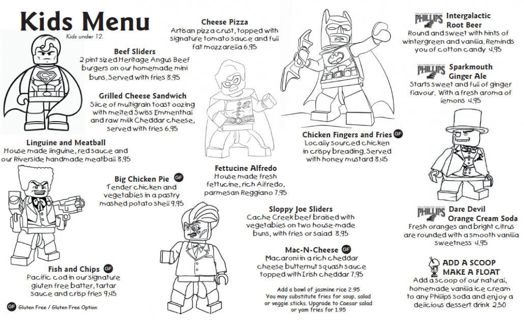 Kids Menu Six Mile Pub