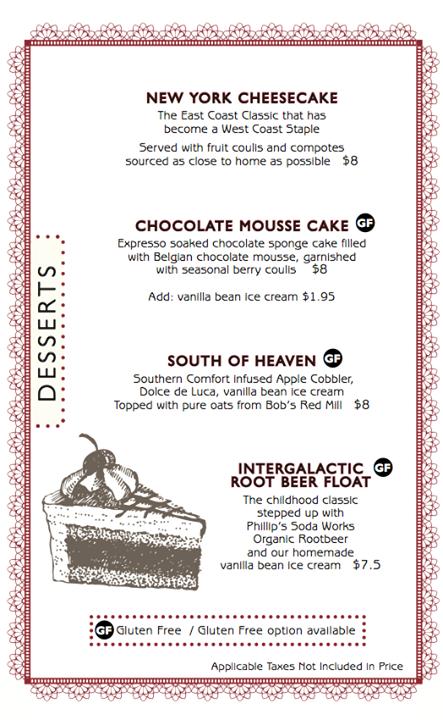 Six Mile Gluten Free dessert
