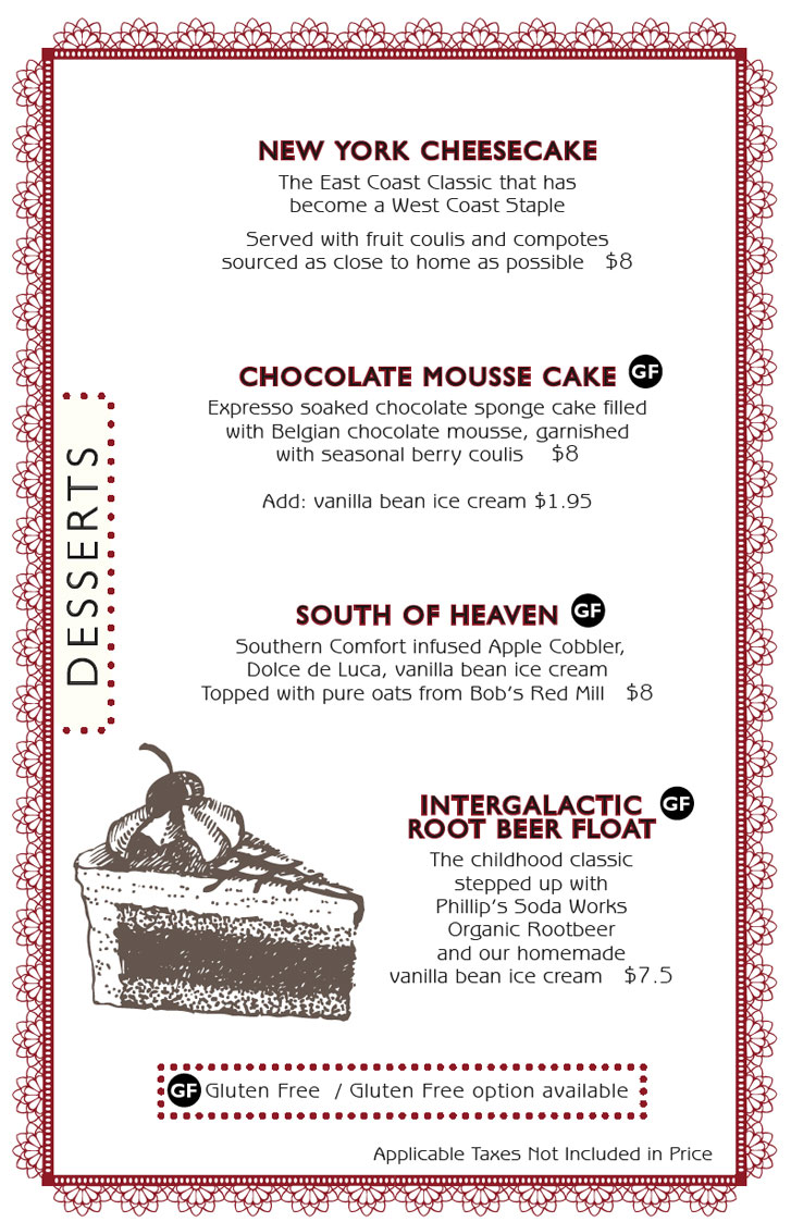 Six Mile Pub Dessert Menu