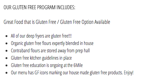 Six Mile Pub Gluten-Free Guarantee