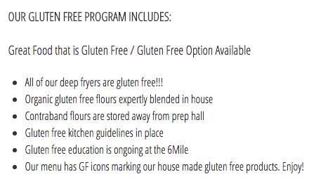 Six Mile Pub Gluten-Free Guarantee