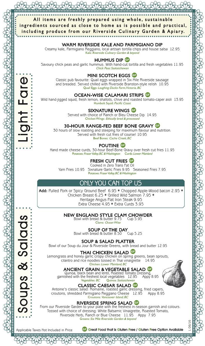 Six Mile Pub Soups & Salads