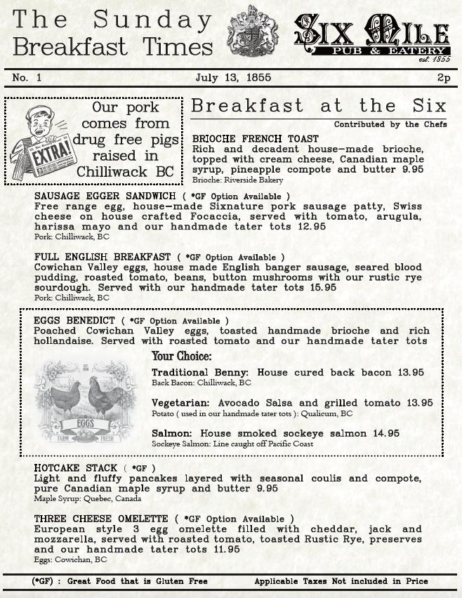 Six Mile Pub a la carte Sunday Breakfast