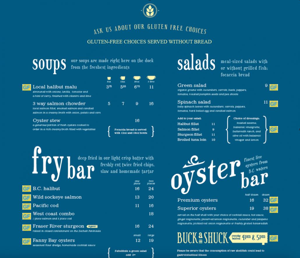 gluten free menu floating fish store 1
