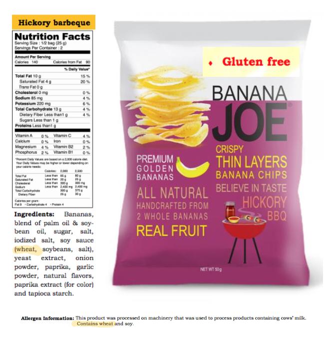 Banana Joe's Chips Contain Wheat