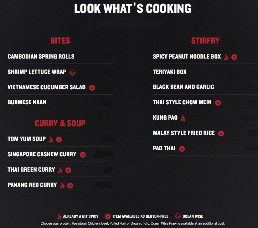 noodle box menu
