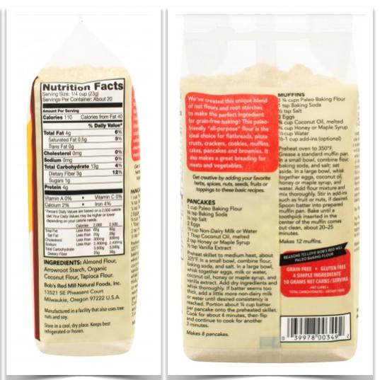 Bob's Red Mill Paleo Flour Mix Nutrition