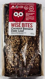 Wise Bites Coconut Banana Date Loaf.