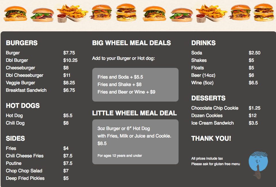 Big Wheel Burger Menu