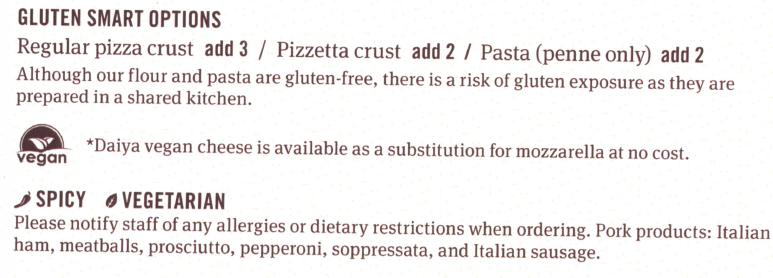 Famoso's Gluten-Smart Options