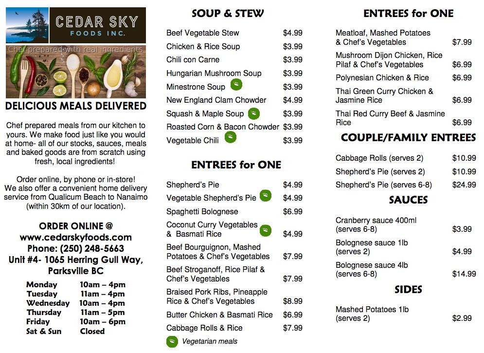 Cedar Sky Foods Menu Page 1