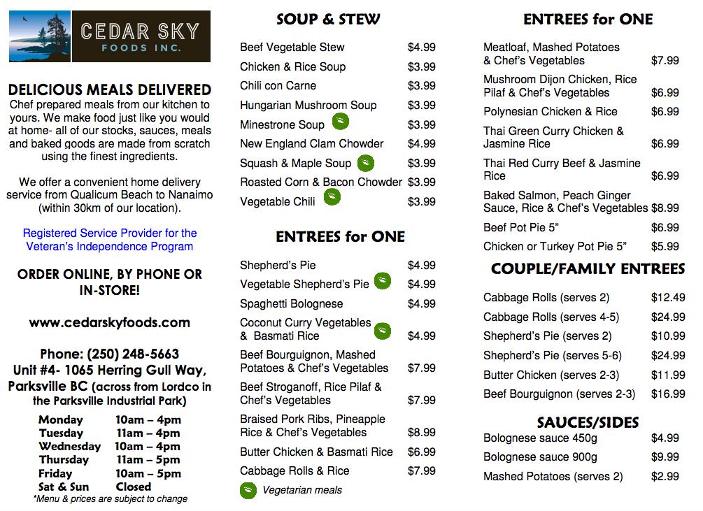 Cedar Sky Foods Menu