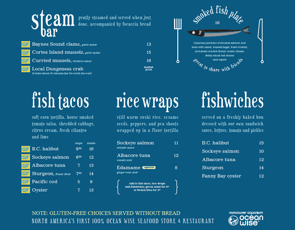 gluten free menu floating fish store B