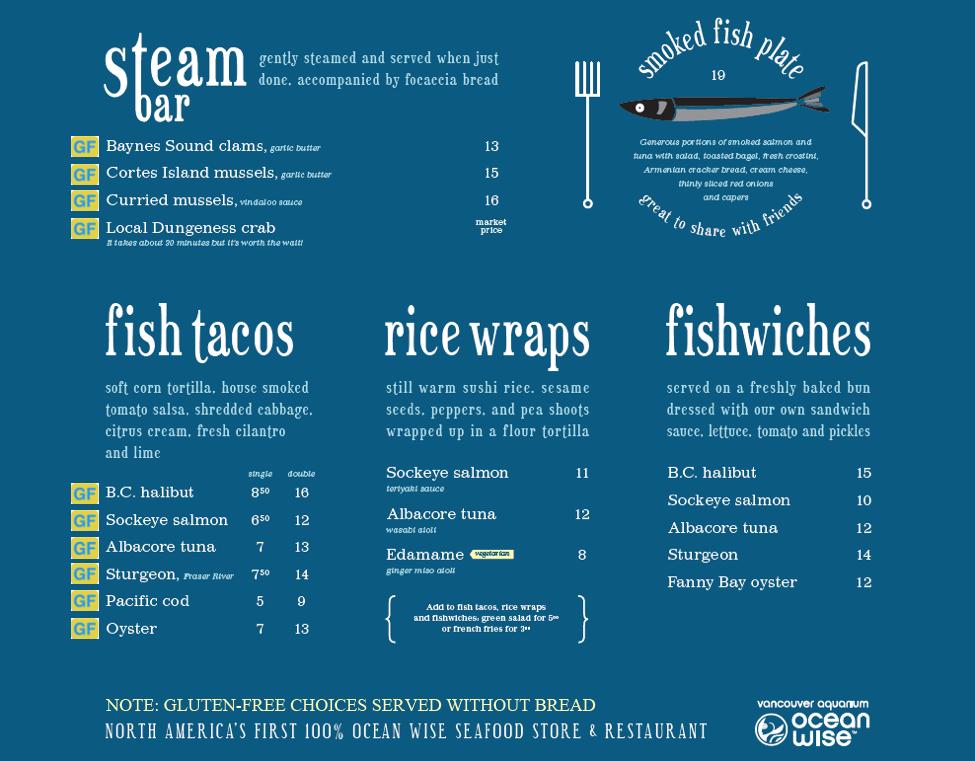 gluten free menu floating fish store B