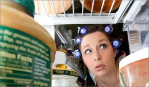 celiac looking in fridge