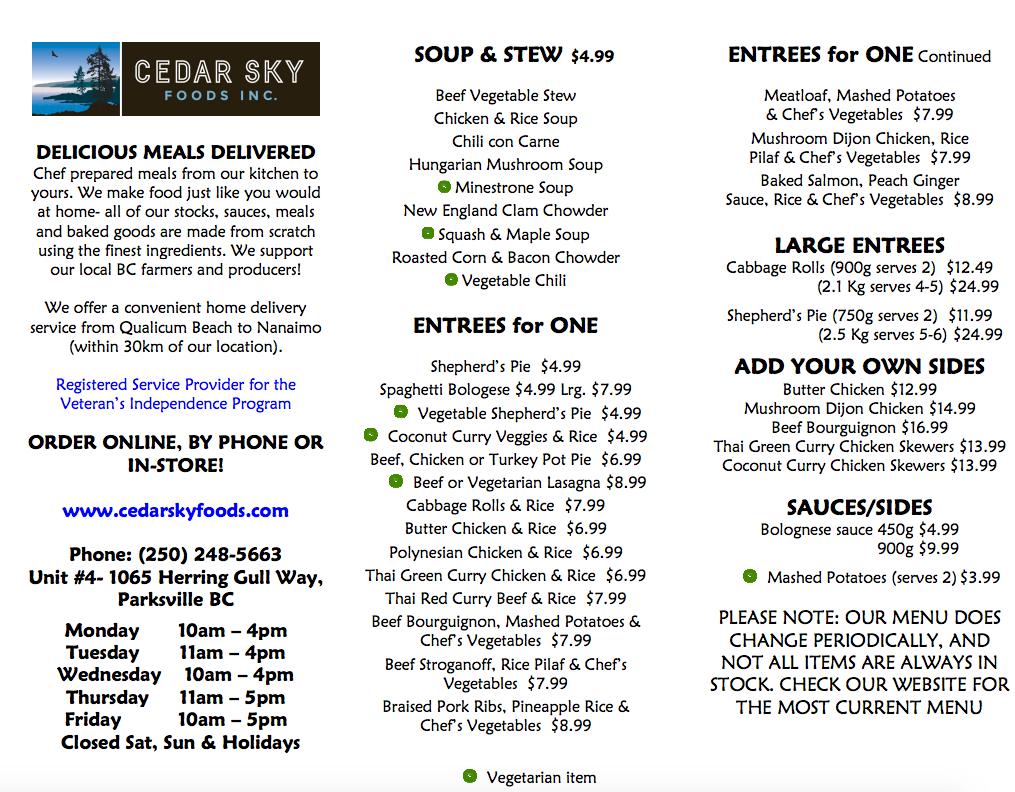 Cedar Sky Menu p.
