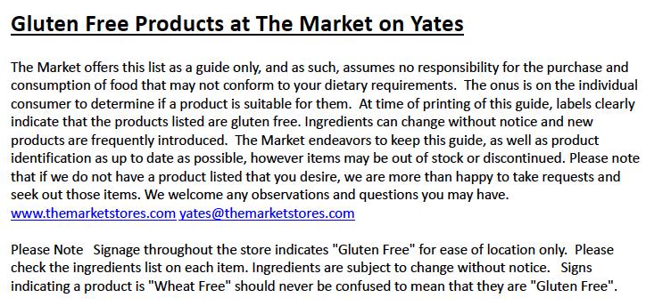 The Market Stores' Gluten-Free Proviso