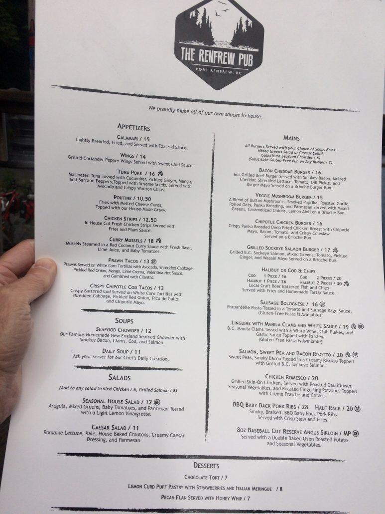 renfrew pub menu