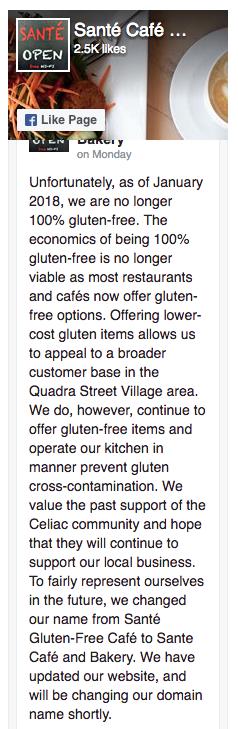 Farewell Sante 'Gluten-Free' Cafe