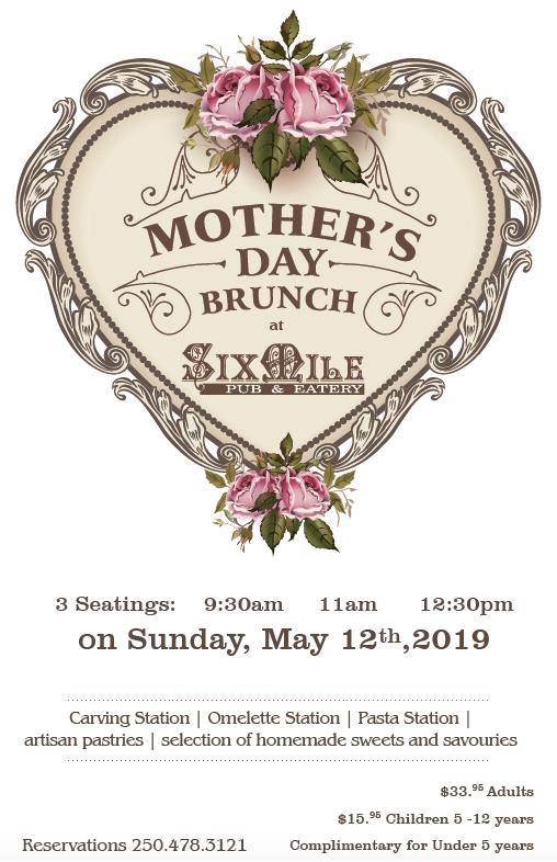 Six Mile Pub Mother's Day Menu