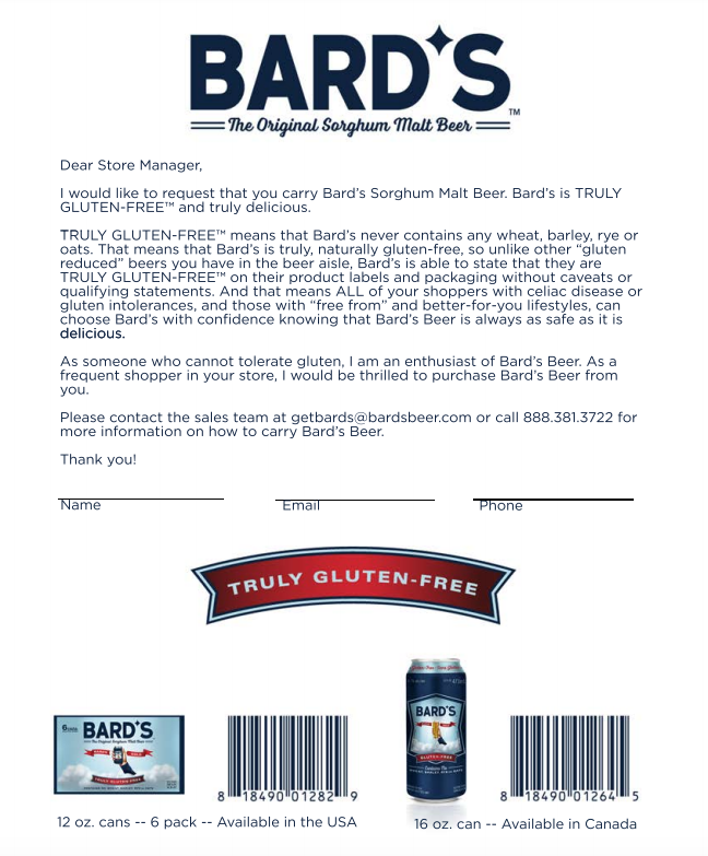 Bard's Beer Request Letter