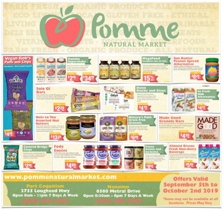 Pomme Natural Market September 2019 Gluten-Free Flyer