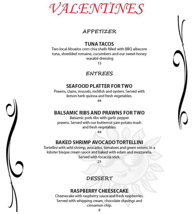 Valentine Menu Union Street Grill