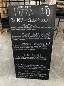 Art of Slow Food Pizza Menu