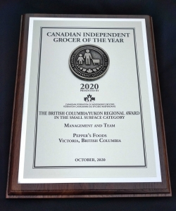 Regional Winner of the Canadian Federation of Independent Grocers of the 2020 Pepper's Foods